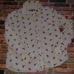 Merona Wren Bird Cotton Button Shirt L